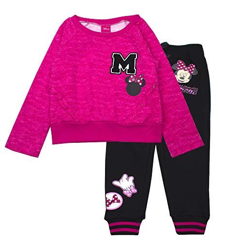 Minnie Mouse Girls Jogger Set - Disney Hoodie & Sweatpants Set (Pink, 4) ()
