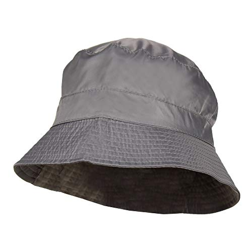 Grey Waterproof Packable Rain Bucket Hat, Zip Pocket - Foldable Crusher Cap (Hat Waterproof Storm)