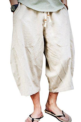 SWORLD-men Aishang Men's Patchwork Shorts Loose Linen Harem Capri Pants With Drawstring