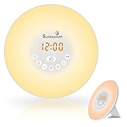 Wake Up Light, SunbaYouth Sunrise Alarm Clock Radio with 7 Color Night Light, 6 Nature Sounds, and FM Radio for Bedside Lamp