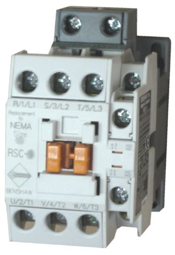 Benshaw RSC-18-6AC240 3 pole, 18 AMP contactor with a 240 volt AC coil and 1 N.O. and 1 N.C. side mounted auxiliary