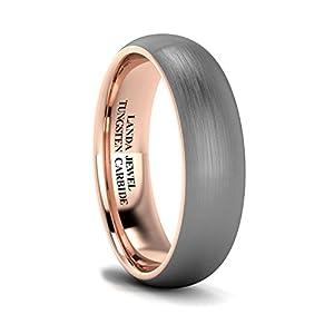 LANDA JEWEL Unisex Tungsten Carbide 6mm Two-Tone Brushed Wedding Ring Heavy Court Shape Comfort Fit