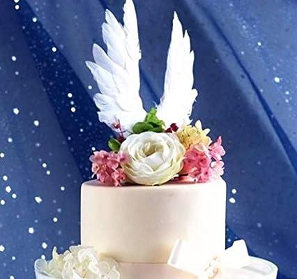 Decoración para tartas con alas de ángel para aniversario, fiesta de cumpleaños y boda, baby shower