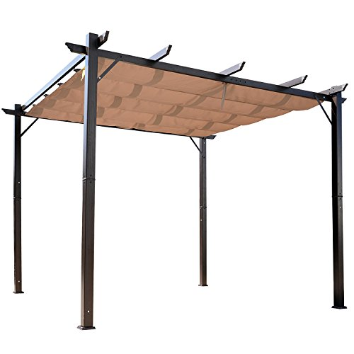 Outsunny 10' x 10' Retractable Pergola with Canopy Outdoor Gazebo for Backyard