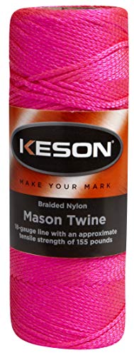 Mason Twine Nylon - Keson PB500 18 Gauge Braided Nylon Mason Twine, Pink, 500-Foot