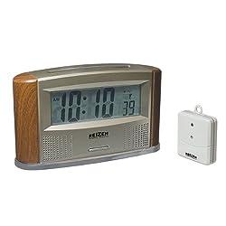 Reizen Atomic Talking Clock with Indoor Outdoor Therm