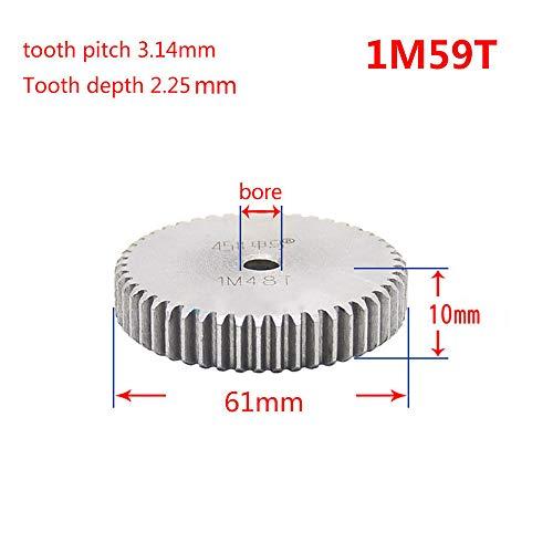 Spur 59t - 1 Mod 59T Spur Gear 45# Steel Motor Pinion Gear Thickness 10mm x1Pcs (1Mod 59T)