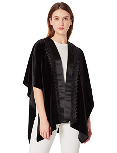 (Orchid Row Women's Special Ocassion Velvet and Satin Tuxedo Wrap Black O/S)