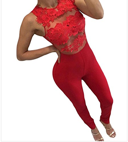 PEGGYNCO Womens Red Mesh Lace Applique Jumpsuit Size (100 Floors Seasons Halloween Level 1)