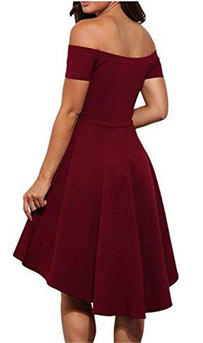 Vestidos Mujer YOGLY Vestidos de Mujeres Vestidos Elegante Verano Manga del Loto de Off Shoulder Coctel Vestido de Fiesta de Noche Rojo 1