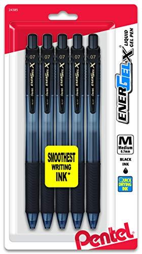Pentel EnerGel-X Retractable Liquid Gel Pen 0.7mm, Metal Tip, Medium, Black Ink (5 Pack) (BL107BP5A)