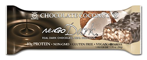 NuGo Dark Gluten Free Vegan Dark Chocolate, Coconut, 1.76 oz, 12 Count