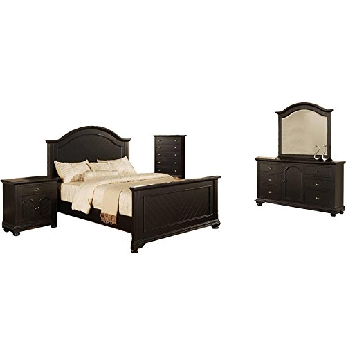 Cambridge 98101A5Q1-BK Hyde Park 5 Piece Suite Bedroom Furniture, Queen, Black