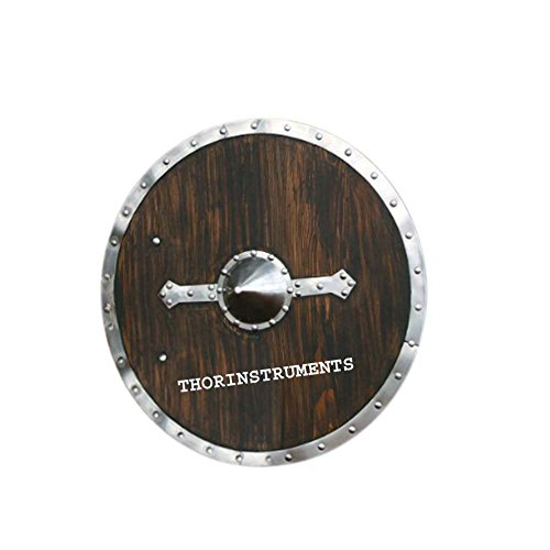 Viking Shield - Brown Wooden - Full Size Replica Medieval Shield by THORINSTRUMENTS