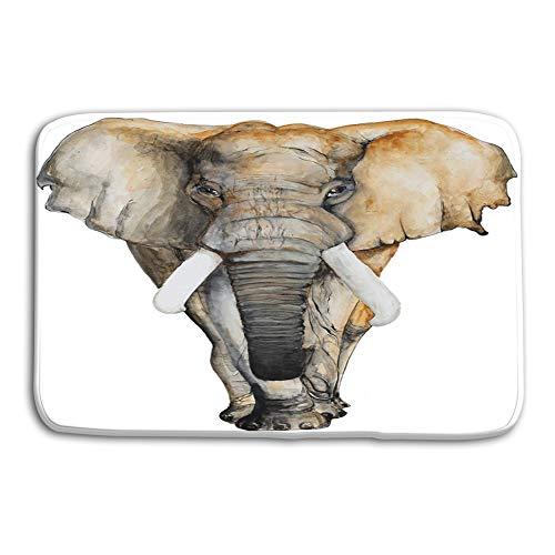 Doormat Entrance Mat Floor Mat Rug Indoor/Outdoor/Front Door/Bathroom Mats Rubber Non Slip 24 W X 16 W Inches watercolor hand drawn elephant white background brochureinvitation card postcard