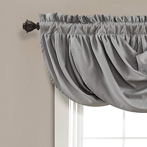 Lush Decor Lucia Valance Draped Soft Brushed Fabric, Window Kitchen Curtain Single , 18 x 42 , Gray