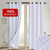 Rose Home Fashion 100% Blackout Curtains(with Liner),Primitive Linen Look White Blackout Curtains& Blackout Thermal Insulated Liner,Grommet Curtains for Living Room/Bedroom,Burlap Curtains