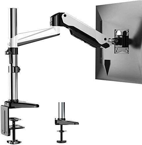 HUANUO Soporte de Monitor de Aluminio Ajustable en Altura, Brazo Giratorio de Resorte de Gas 360 ° para Pantalla de 13 a 32 Pulgadas, 2 Opciones de Montaje