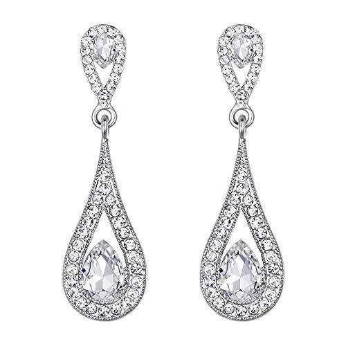 EVER FAITH Women's Rhinestone Crystal Luxury Dual Teardrop Wedding Clip-On Earrings Clear - Drop Earrings Tone 2
