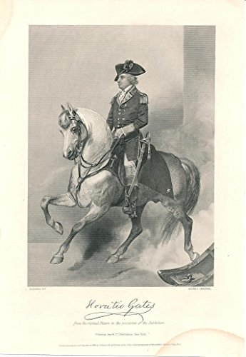 General Horatio Gates horseback 1862 fine antique engraved historical portrait