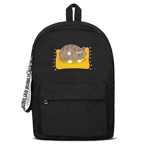 Cartoon Cat Clipart Canvas Backpack for Men Women Casual Satchel School Backpack