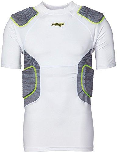 Riddell Sports Power Amp 5Piece Integrated Shirt, White/Volt