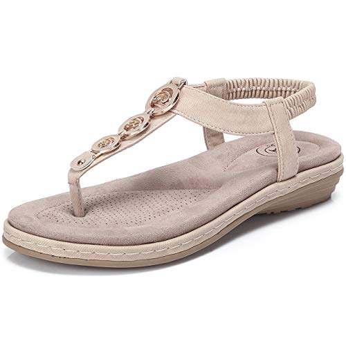 (CAMEL CROWN Women's T-Strap Thong Sandals Summer Beach Bohemian Flat Comfortable Sandals Slingback Ankle Strap Flip Flops Casual Holiday Shoes Apricot)