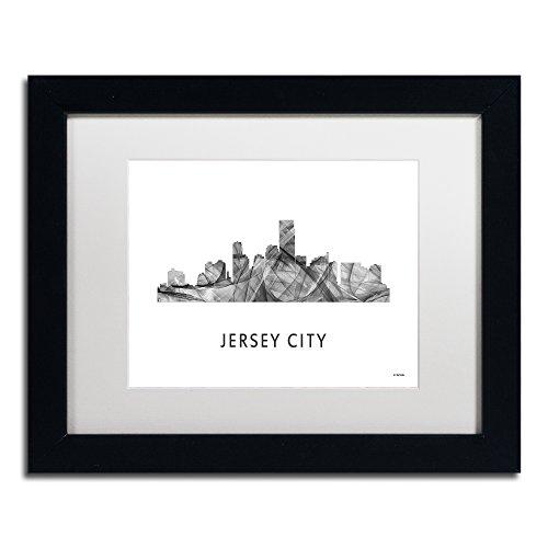 Jersey City NJ Skyline WB-BW by Marlene Watson, White Matte, Black Frame - W The Jersey City