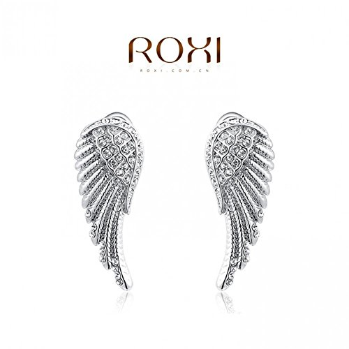 Shining Deals Fashionable Jewellery Unique Design jewelry jewelry Natural Crystal Platinum angel wings Earrings