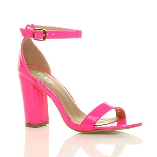 High Size Sandals Ajvani Block Fuchsia Heel Neon Strappy Patent Women BwqgwT