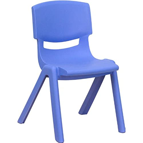 Flash Furniture Blue Plastic Stackable School Chair With 12u0027u0027 Seat Height