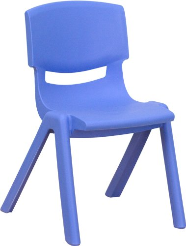 Flash Furniture Blue Plastic Stackable School Chair with 12'' Seat Height -