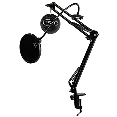 Blue Microphones Snowball iCE Black Microphone with Knox Studio Boom Arm & Pop Filter (Blue Mic)