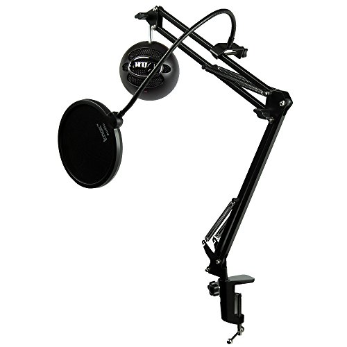 Blue Microphones Snowball iCE Black Microphone with Knox Studio Boom Arm & Pop Filter Boom Microphone Desktop Cable