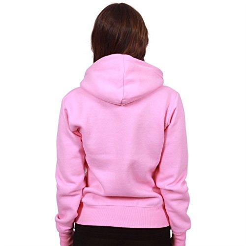 Unita 21 Rosa Pile 8 Colori Forti Xxxxx Cardigan Inverno Tinta Cappuccio Taglie Top 22 Confetto Donna large Tasca Cerniera Manica Lunga Da 2 Fashionchic Giacca Con 22 RBtqpR