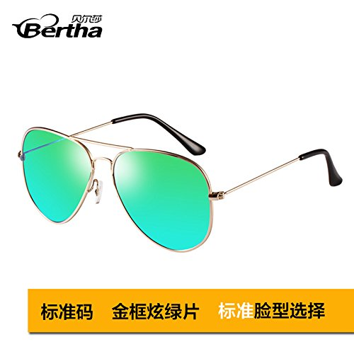 estándar golden gafas star pionero de Polaroid polarizadas Gafas moda Framed box femenina de KOMNY de sol aviador sol Gafas sol de Green hombres gafas sol Standard gafas Polaroid de Golden blue 1dUqR4