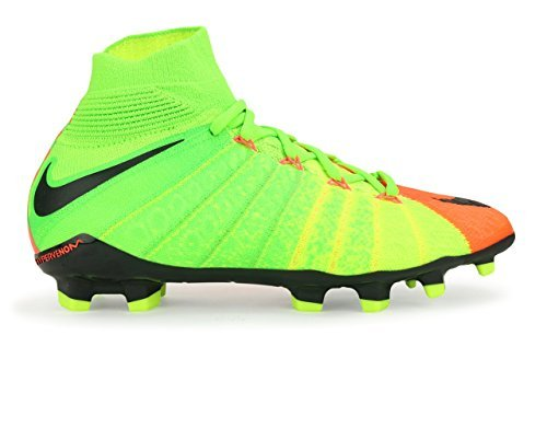 90a113204be Nike Kids Hypervenom Phantom III Dynamic Fit FG Electric Green Black Hyper  Orange Soccer Shoes - 4.5Y
