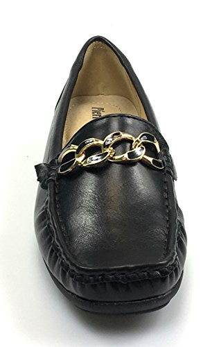 Pierre Dumas Womens Hazel-7 Black Leather Loafers Comfort Shoes (8.5, Black/Hazel25)