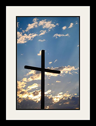 The Cross Poster Framed Photo Picture Print Home Room Decor Christian Wall Art - Beautiful Yellow Sunset Sky Scenery (19x25 Framed) by WeSellPhotos