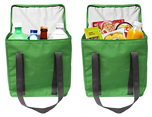Earthwise Large INSULATED Grocery Bag Shopping Tote Cooler with ZIPPER Top Lid KEEPS FOOD HOT OR COLD (2 Pack) ()