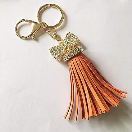 Key Chains - High Grade Women Leather Tassel Keychain Pendant Rhinestone  Bow-Knot Key Chain ef31d5871