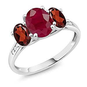 10K White Gold Diamond Accent Oval Red Ruby Red Garnet 3-Stone Ring 2.60 Ct, Available in size (5,6,7,8,9)