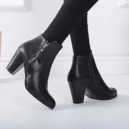 Modern Boot Leather Tacco Chunky Vintage Lace Chelsea Caviglia Alti yesmile Nero Spessore Donne Cerniera Scarpe Di Stivaletto Corto Donna Up Stivaletti Stivali Tacchi rdr0txnq