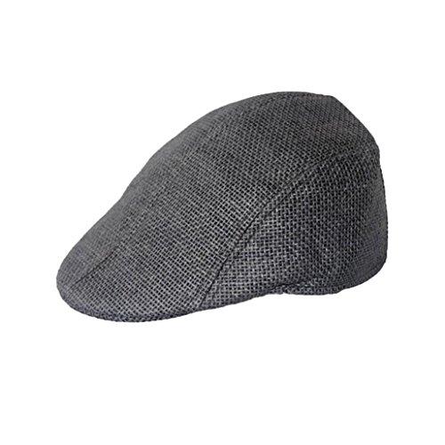 (Baigoods Retro Linen Sunscreen Cap Mens Women Vintage Beret Cap Newsboy Flax Sunscreen Hat (Black))