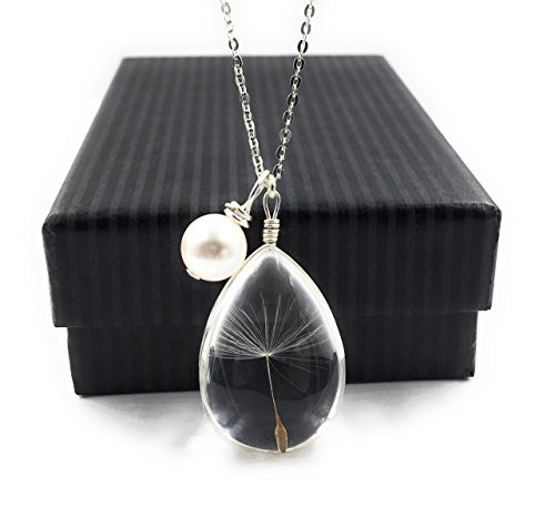 Simulated Pearl Charm (Popular Dandelion Wish Pendant Necklace with Swarovski Crystal Pearl Charm on 18