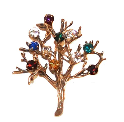 Silver Vermeil Brooch - Vintage Signed Curtis Sterling Silver Vermeil Tree of Life Brooch Pin w/Colored Rhinestones