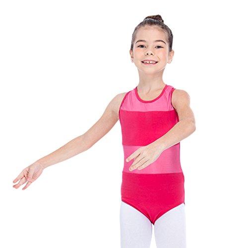Leotard Dance Halter (Kids Ballet Leotard Dance Gymnastic Skating Halter Cotton/Lycra Mesh Dancewear Small Deep Pink)