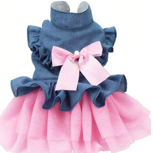 ANIAC Pet Denim Dress with Cute Bow-Knot Comfy Vest Skirt Lace Trim Tutu Summer Spring Clothes for Cats and Small Dogs (Small)