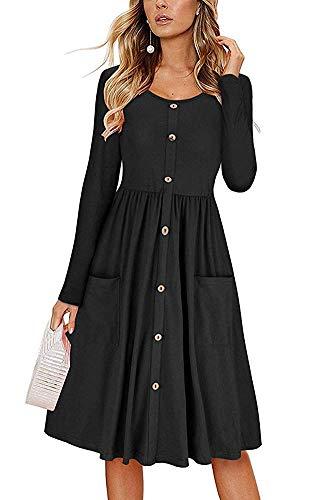ECHOINE Retro Solid Black Long Sleeve Button Down Work Office Lady Midi Dress