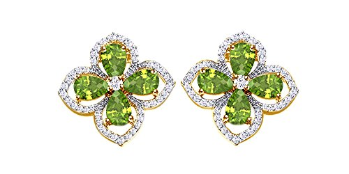 (Flower Stud Simulated Peridot Gemstone Earrings 14k Yellow Gold Over Sterling Silver)